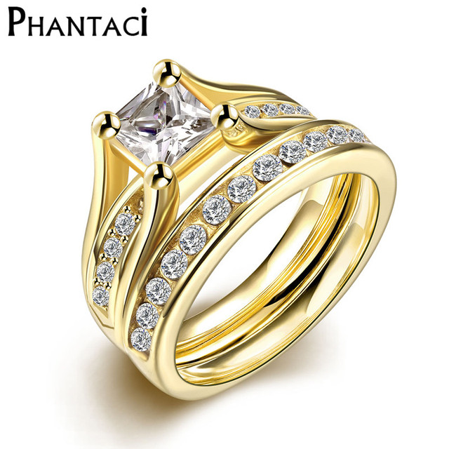 2 PCS Set Zircon 316L Stainless Steel Double Rings For Women Gold Color Crystal