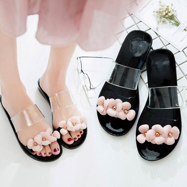 c1aaf8b87 Womens Girls Summer Jelly Shoes Beach Hot Sandals Slippers Flip Flops Flat  Plastic Flowers Band Casual