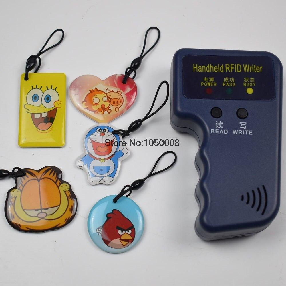De poche 125 KHz EM4100 RFID Copieur Writer Duplicator Programmeur Lecteur + 5 Pcs EM4305 T5577 Réinscriptible ID Télécommandes Tags