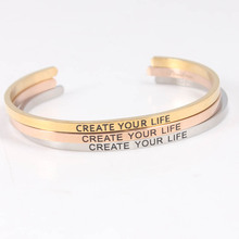 New Stainless Steel Bangle Personalized Create Your Life Engraved Positive Inspirational Quote Cuff Mantra Bracelets for Women