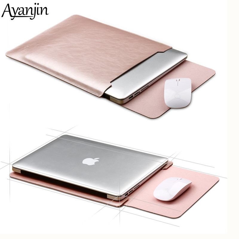 Mouse Pad Pouch Notebook <font><b>Case</b></font> for Xiaomi Macbook Air 11.6 12 13 Cover Retina Pro 13.3 15 <font><b>15.6</b></font> Fashion <font><b>Laptop</b></font> Sleeve Leather Bag image
