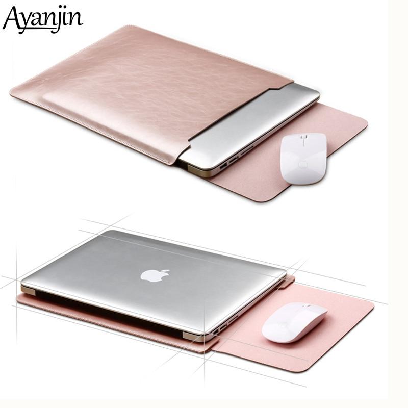 Tapis de souris pochette ordinateur portable étui pour Xiaomi Macbook Air 11.6 12 13 couverture Retina Pro 13.3 15 15.6 mode pochette pour ordinateur portable en cuir sac