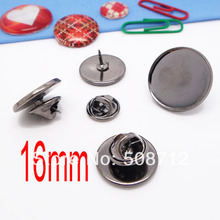 Gun Black Bulk 16mm bezel blank metal butterfly clip and pins back suitable to brooches collar clips lead and nickle free недорого