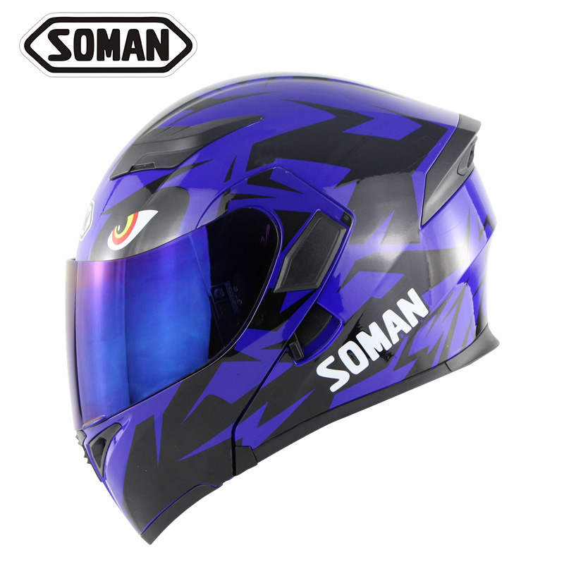 цена Double Lens Motorcycle Helmets With Replaceable outer visors Model K5 Flip up Motorbike Capacetes Casco DOT SOMAN 955 SkyEye