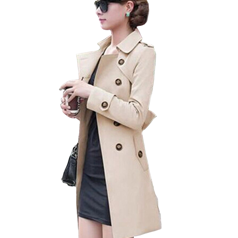 2018 New Fashion Hot Sale Women Slim Charm Double Breasted Female Long Trench Turn Down Collar Solid Pattern Trench TR050