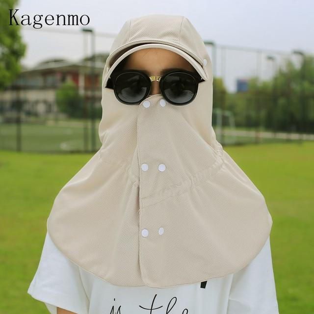 b19a1cdcc41 Kagenmo Summer sun-shading hat sunscreen anti-uv female neck protection cap  male folding sun hat