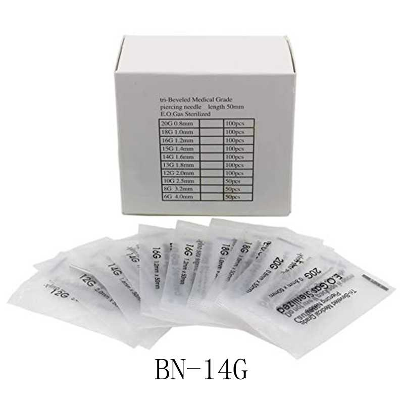 14 Gauge 100PC Piercing Needles Sterile Disposable Body Piercing Needles 14G For Ear Nose Navel Nipple for Piercing Supplies