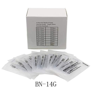 14 Gauge 100PC Piercing Needles Sterile Disposable Body Piercing Needles 14G For Ear Nose Navel Nipple for Piercing Supplies фото