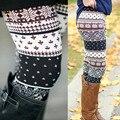 2017 Hot Womens Autumn Winter Warm Leggings Fashion Geometric Printed High Elastic Skinny Leggings Slim Pencil Pants Plus Size