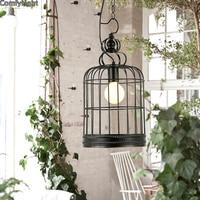 Contemporary led Chandelier Pendant lamp Contracted Creative birdcage Retro Art Suspension iron light Cafe/Restaurant Study Lamp