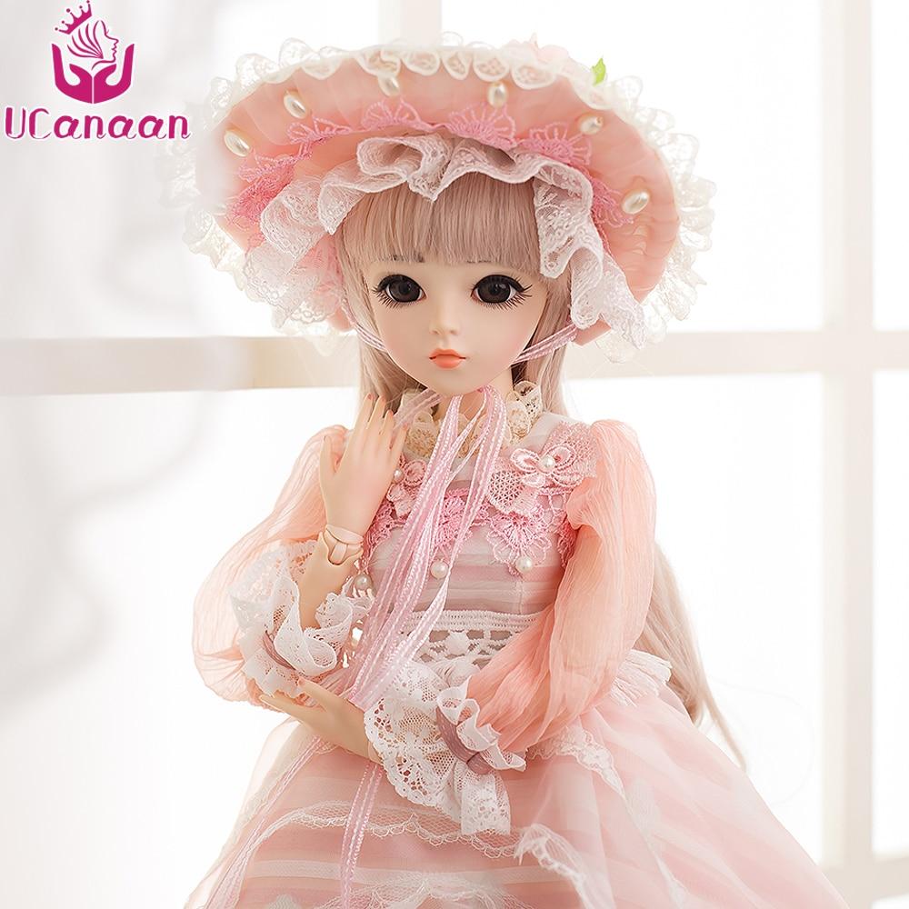 UCanaan 60CM BJD Dolls New Arrival SD Dolls With Outfit Elegant Dress Wigs Shose Hat Makeup Beautiful Dream Girls Toys KD Dolls