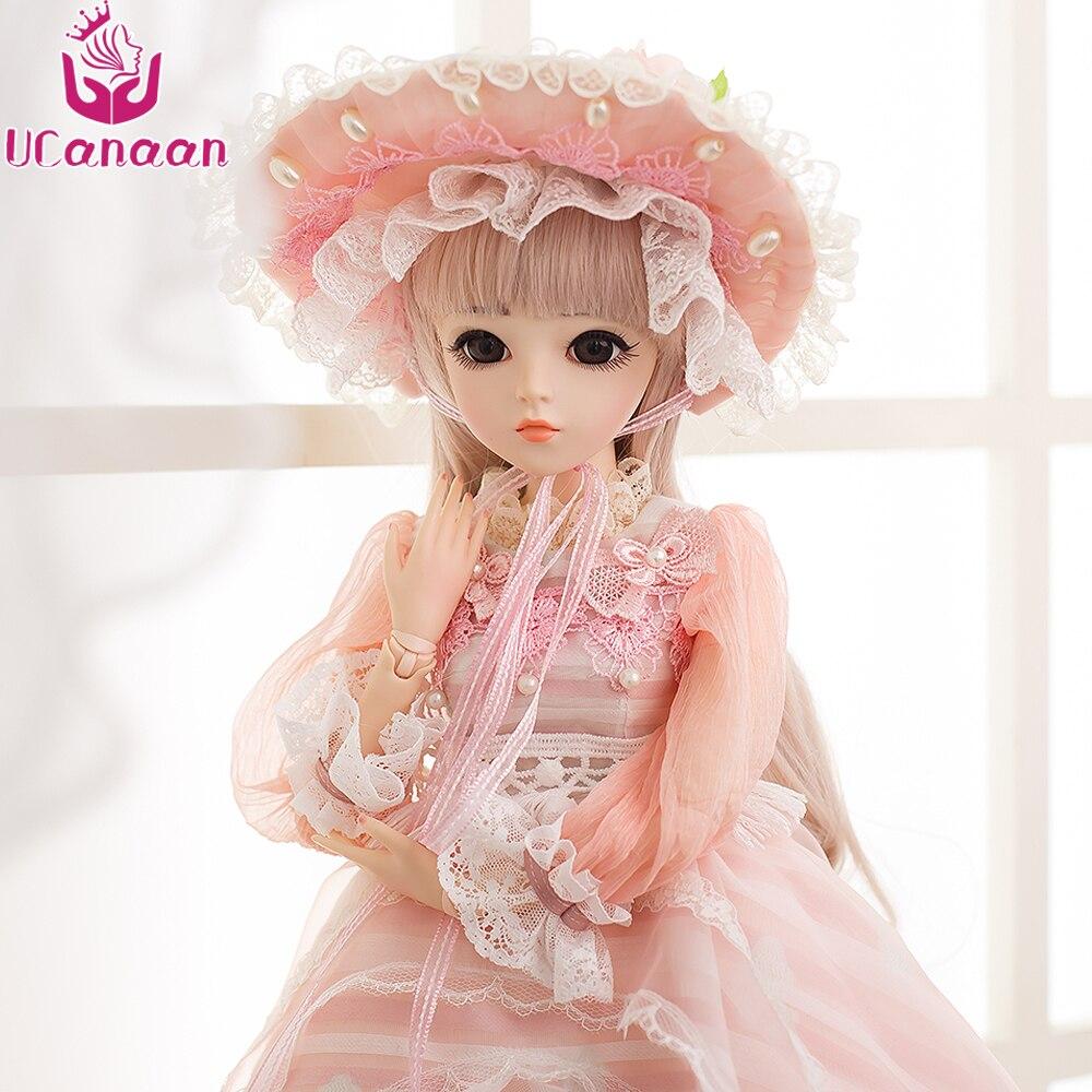 UCanaan 60 cm BJD Bambole Nuovo Arrivo Bambole SD Con Elegante Vestito di Vestito Parrucche Shose Cappello Trucco Bella Sogno Delle Ragazze giocattoli KD Bambole