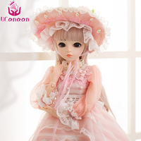UCanaan 60CM BJD Dolls New Arrival SD Dolls With Outfit Elegant Dress Wigs Shose Hat Makeup Beautiful Dream Girls Toys KD Dolls