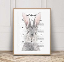 The Background Calendar Of Rabbit Canvas Painting Oil Print Poster Wall Art HD Picture For Living Home Children Bedroom Decor