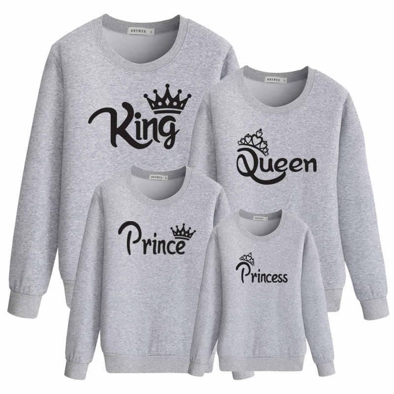 Mommy และ Me ชุดครอบครัวแม่ลูกสาว Daddy SON เด็กทารกเสื้อกันหนาวพิมพ์ King Queen ฤดูใบไม้ร่วงเสื้อผ้าเสื้อผ้า