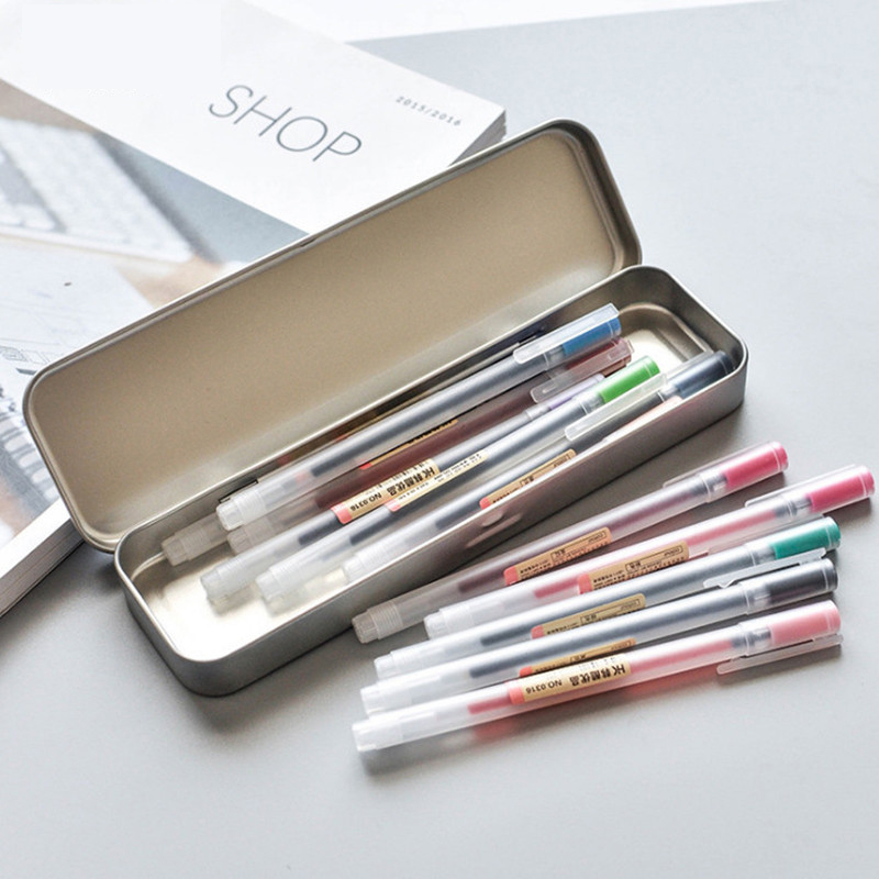 12 Pcs lot 0 5mm Gel Pen Colorfule Cute Ink Maker Pen School Office Supply Muji Style 12 Colours Papelaria Material Escolar in Gel Pens from Office School Supplies