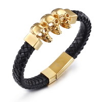 Men S Punk Jewelry 316 Stainless Steel 18K Gold Plated Skull Charm Bracelet Gothic Rock Handmade