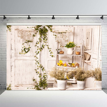 Photography Backdrop White Wood Door Frame Vine Branch Flowers Vase Photo Background Custom Birthday Party Backdrop Photocall