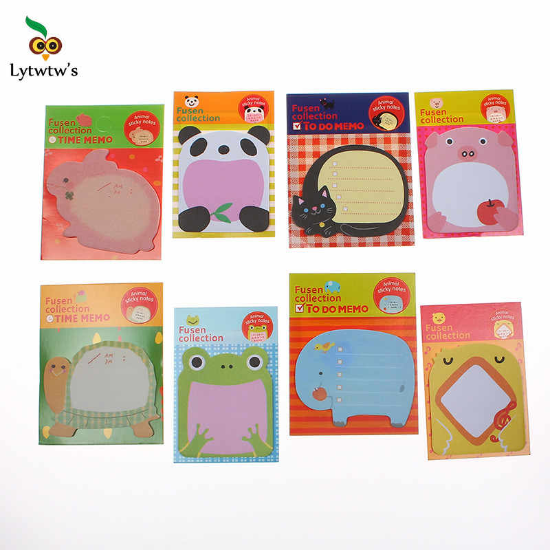 1 peça Lytwtw do Novo Coreano DIY Kawaii Animal Sticky Notes Criativo Post Filofax Notepad Memo Pads Escritório Escola Papelaria