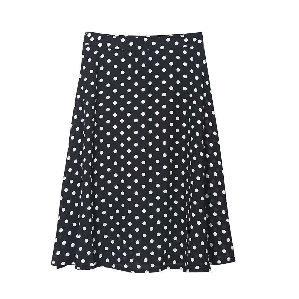 A Line Chiffon Skirt High Waist Dots Points Kawaii Vintage Skirt Women Korean Saias Na Altura Do Joelho Ladies Skirts 60Q520