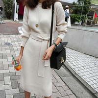 Elegant O neck Women Sweater Dress Autumn Winter Lace Up Long Knitted Pullovers Dress Casual Slim Waist Knitted Vestidos femme