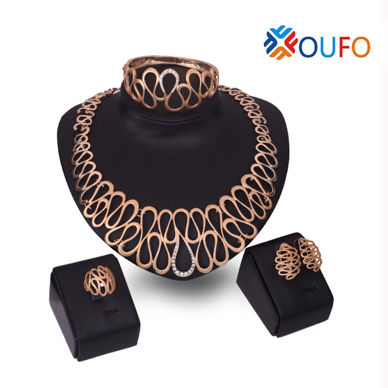 Luxuriant Party Jewelry Sets Gold Plated Hollow Geometric with White Rhinestone Contained Necklace font b Earring