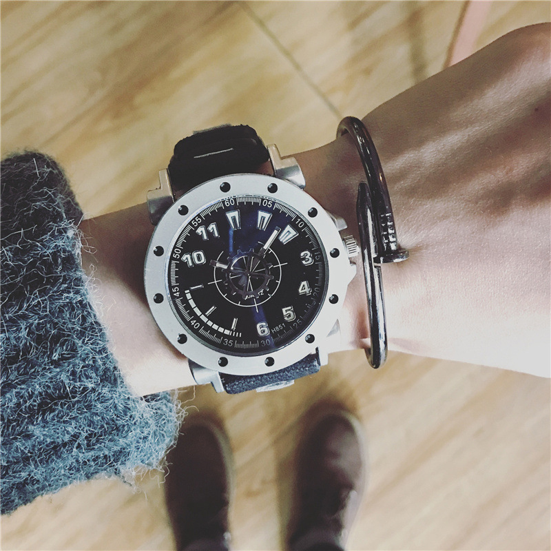 Fashion Luxury Watch High Quality Big Dial Men's Clock Casual Digital Waterproof Quartz-Watch 2017 New Style Wristwatch LZ2203 luxury aluminum watch