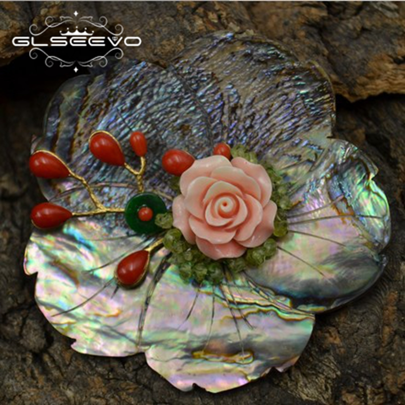 0c6a9cac6 GLSEEVO Natural Mother Of Pearl Flower Brooch Pins Agate Coral Flower  Brooches For Women Dual Use