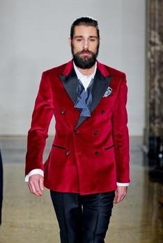 (Jacket+Pants) Bespoke Peaked Lapel Velvet Men Suits Red 2017 Latest Design 2 Pieces Fashion Terno Masculino Party Tuxedos 2017