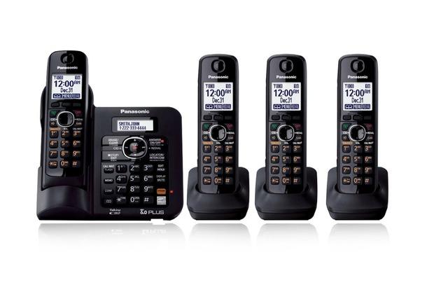 4 Teléfonos KX-TG6641 Digital DECT 6.0 teléfono inalámbrico Teléfono Inalámbrico con contestador automático Negro
