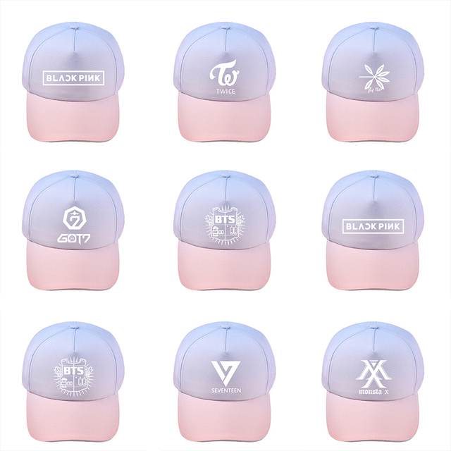 a6e83d7a47a ONGSEONG KPOP BLACKPINK BTS SEVENTEEN GOT7 TWICE MONSTA X EXO Album Gradient  Baseball Cap For Men