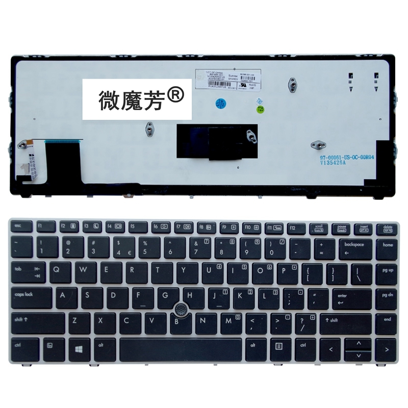 US New English FOR HP For EliteBook For Folio 9470M 9470 9480 9480M backlight Replace Laptop Keyboard Silver with pointing stick new keyboard for hp elitebook folio 9470 9470m 9480 697685 backlist ru russian swiss layout