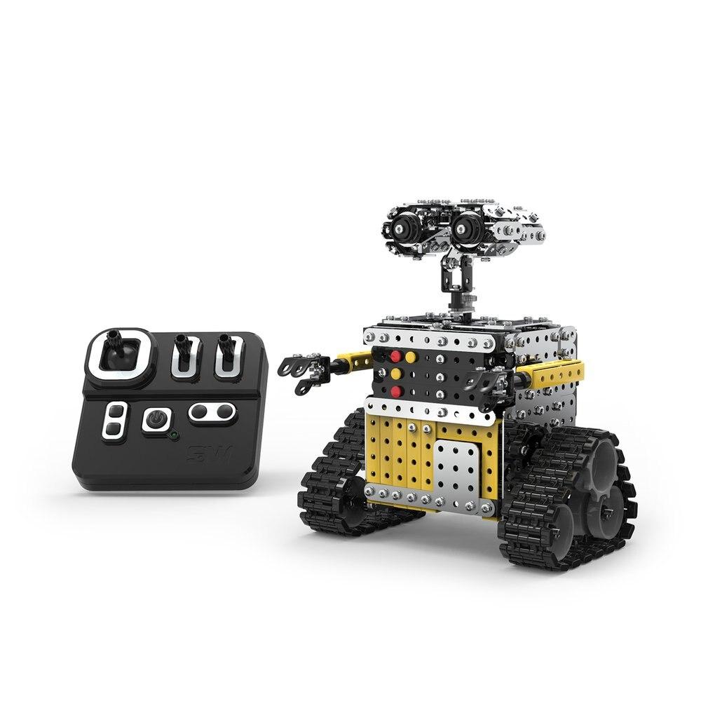 Bricolage en acier inoxydable télécommande Robot coulissant bloc bâtiment assemblé Robot jouet Stand encore pour les enfants enfants