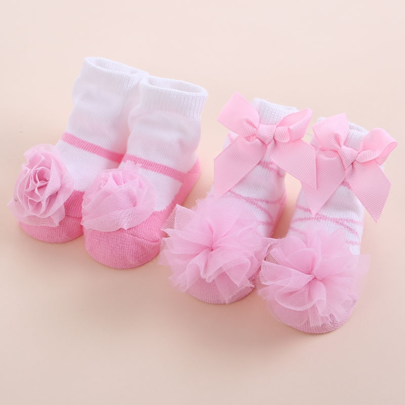 Cute New Born Baby Girl Socks Princess White Red Infant Lace Toddler Sock Cotton Bowknot Set Children Meias Infantil