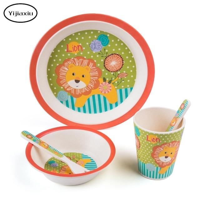 YIJIAXIU 5pcs/set Kids Plate bow cup Forks Baby Dinnerware feeding Set 100% bamboo  sc 1 st  AliExpress.com & YIJIAXIU 5pcs/set Kids Plate bow cup Forks Baby Dinnerware feeding ...