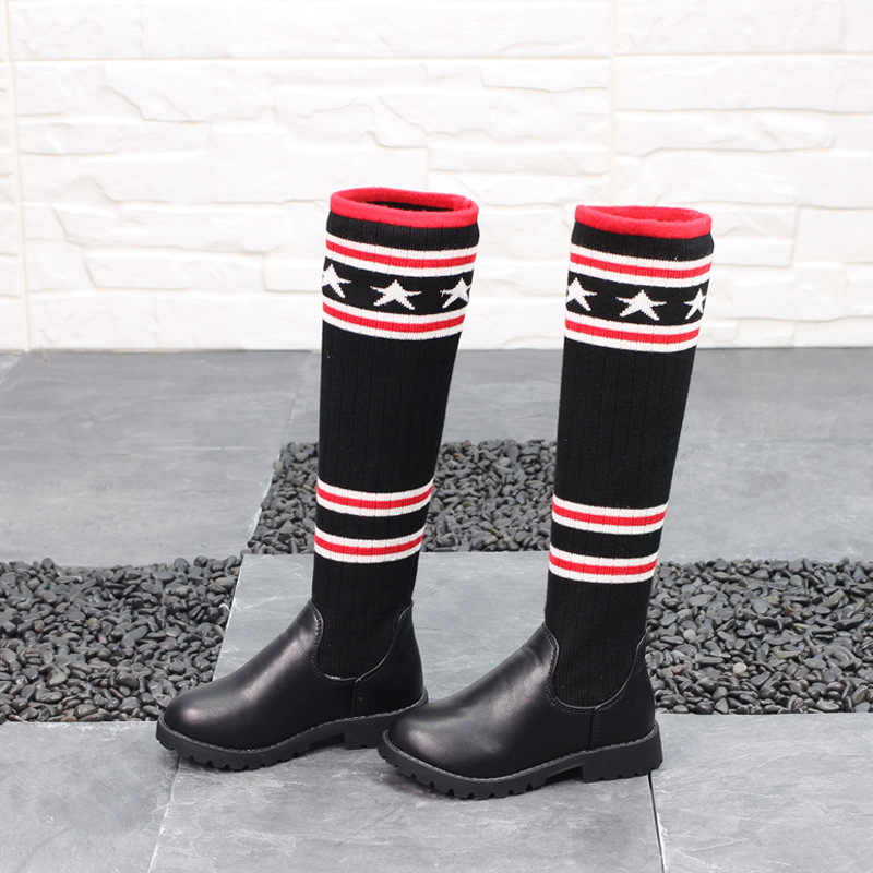 110457aed03 2018 New Star Girls Over Knee Boots Childrens Boots Knitted High Top Socks  Shoes Warm Spring