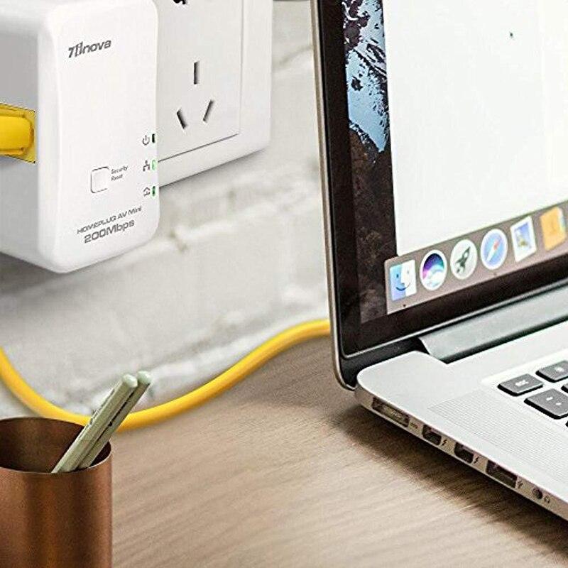 2X  200Mbps Mini Homeplug Ethernet Network Extender AV Powerline Adapter Kit