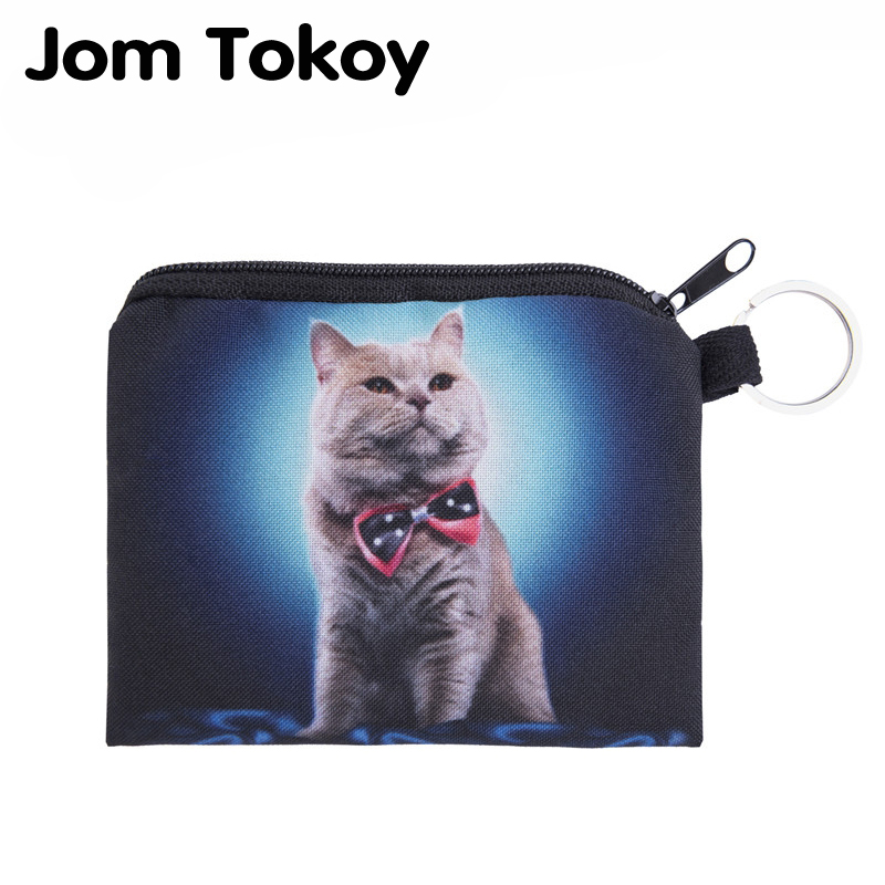Jom Tokoy blue bow cat Mini Wallet 2017 Fashion Prints Women Purse Holder Small Zipper Coin Purse Female Money Bags flamingo beach mini square wallet 2017 who cares fashion prints women purse holder small zipper coin purse female money bags