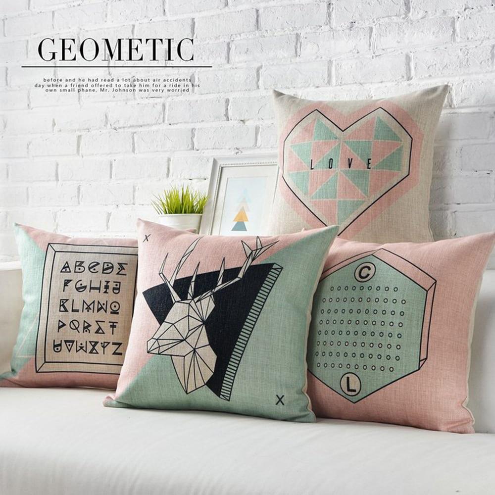 Simple England Nordic Geometric Pillow Cushions Deer Lumbar Waist Pillow Linen Pillowcase Sofa Cushion Home Decorative Pillows