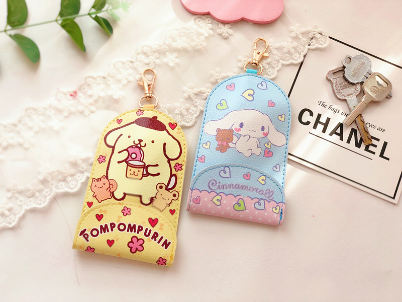 IVYYE 1PCS White Dog Doraemon Anime Plush Card Holder PU Cartoon Credit ID Bags Zipper Coin Bus Card Key Kid Girls Gifts New