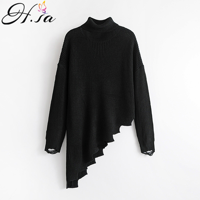 H.SA 2017 Fall Fashion Women Turtleneck Sweaters Irregular Knitted Sweaters Casual Punk Ugly Christmas Jumper Pullovers sudadera