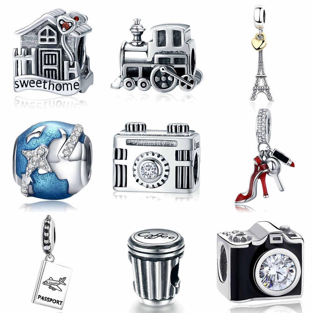 925 เงินสเตอร์ลิง Berloque Family House EIFFEL Tower กล้อง Travel Dream ถ้วยกาแฟรองเท้า Charm สร้อยข้อมือ Charm Charm สร้อยข้อมือ DIY เครื่องประดับ
