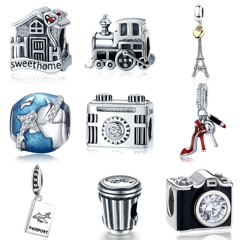 925 Sterling Silver Berloque Family House Eiffel Tower Camera Travel Dream Coffee Cup Shoes Charm Fit