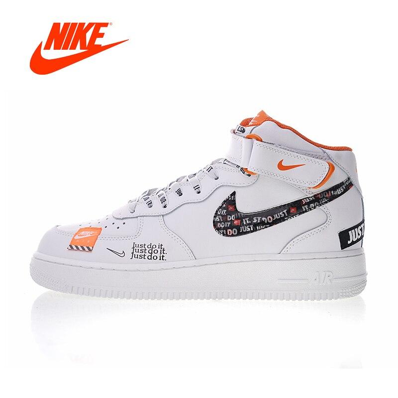 Nuovo Arrivo originale Autentico Nike Air Force 1 Mid uomo Just do it Scarpe da pattini e skate Sport Outdoor Sneakers AQ8650-100