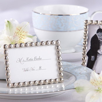 """Wedding favors and Wedding gifts """"Silver Pearls"""" Mini Photo Frame /Place card holder 15pcs/lot  Free Shipping"""