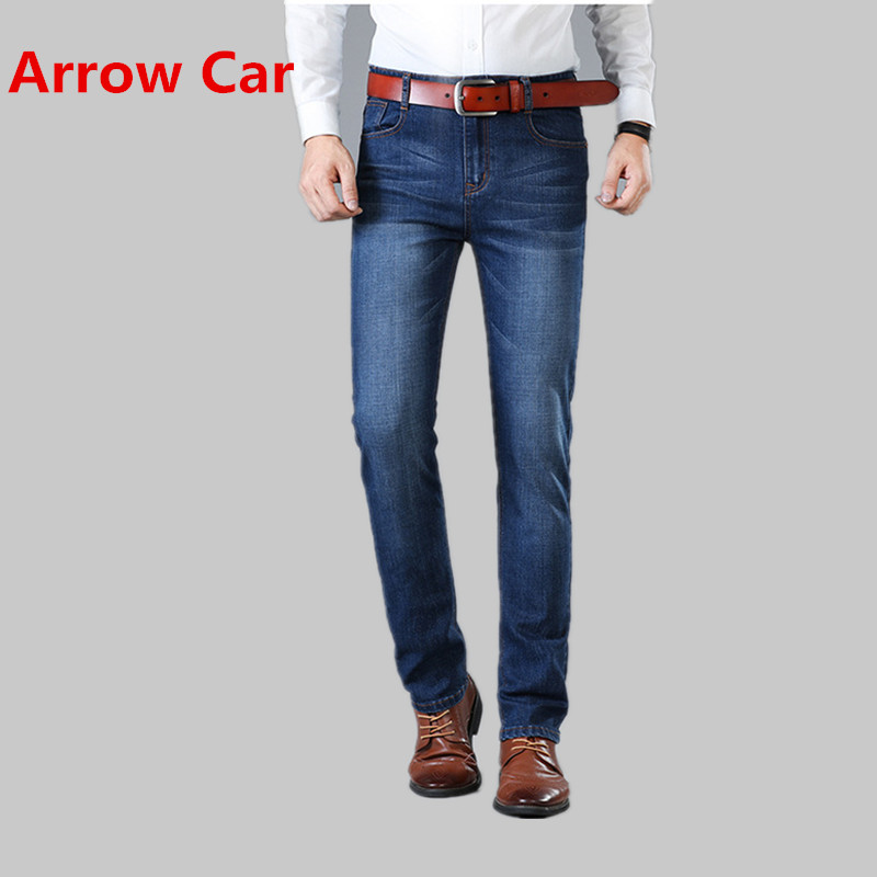 Arrow Car 2018 New Jeans men Straight Slim stretch washed Casual Denim Pants Slim Solid Men Jeans Classic Business Trousers