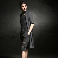 2016 Metrosexual Summer Long Sleeve Shirt Mens Clothing Lace Openwork Stylist C28 P65
