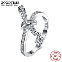 100 Real Pure 925 Sterling Silver Rings Women Lovely Bowknot Ring Micro Paved AAA Cubic Zirconia