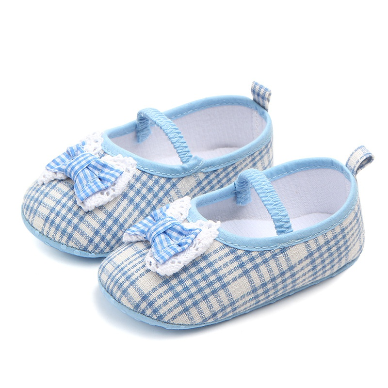 Plaid Princess Shoes Butterfly knot Baby Shoes Soft Non slip Toddler Bowknot Shoes First Walkers