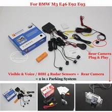 Liislee For BMBMW M3 E46 E92 E93 Car Parking Sensors + Rear View Back Up Camera = 2 in 1 Visual / Alarm Parking System
